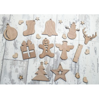 Wooden Christmas Ornaments set of 11
