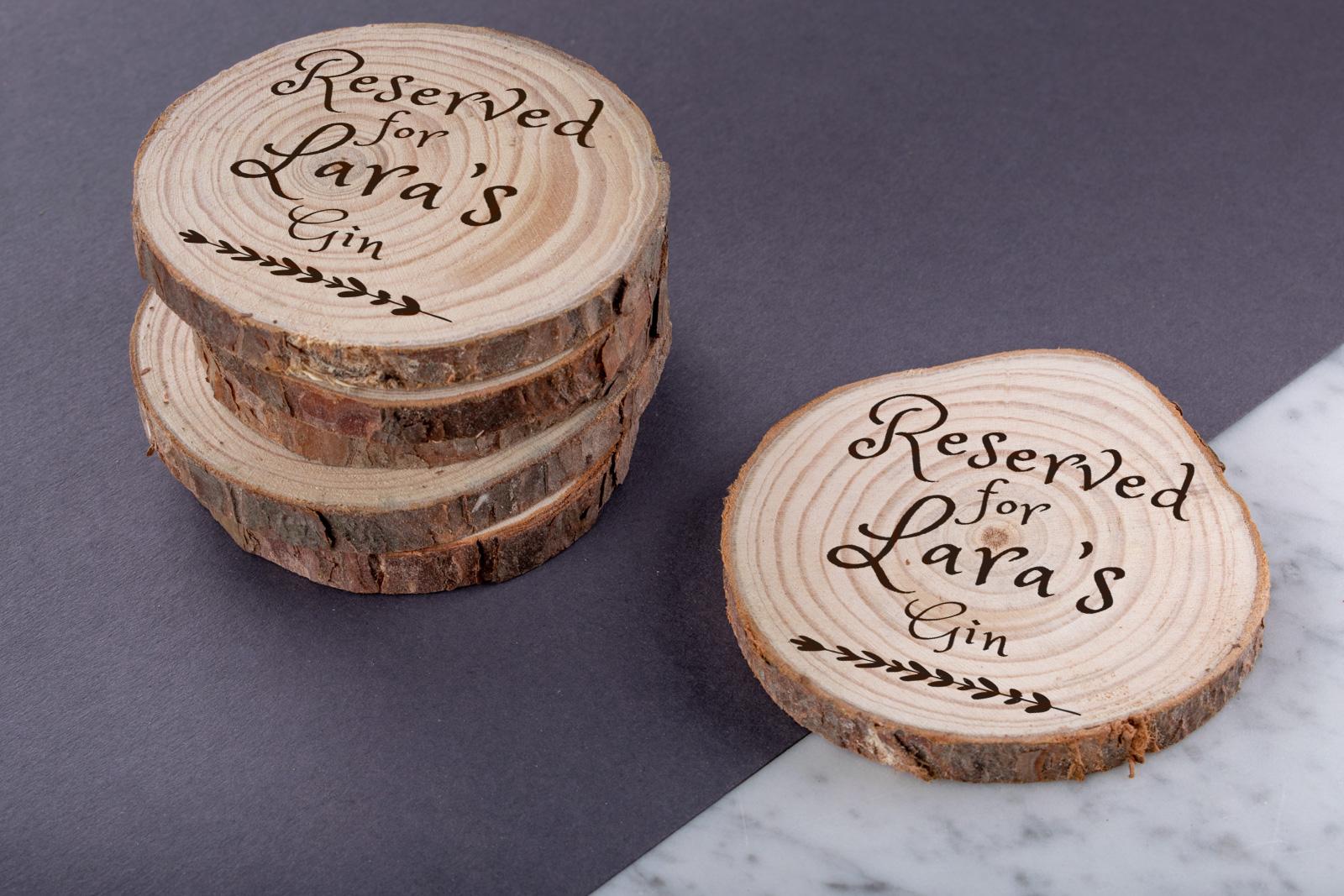 Personalised Engraved Wooden Walnut Coasters Wedding Perfect Gift Custom Round